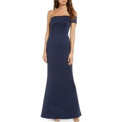 Women's Black Halo Off The Shoulder Trumpet Gown, Size 0 - Blue