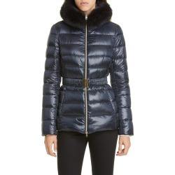 Women's Herno Claudia Down Jacket With Genuine Fox Fur Trim, Size 12 US / 48 IT - Blue found on Bargain Bro Philippines from Nordstrom for $865.00