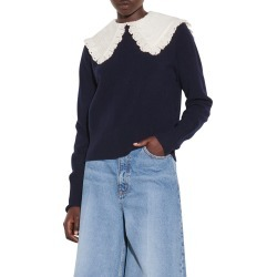 Women's Sandro Embroidered Collar Sweater, Size 4 - Blue found on Bargain Bro from Nordstrom for USD $247.00