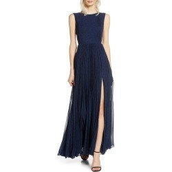Women's Fame And Partners The Luna Pleat Gown, Size 12 - Blue