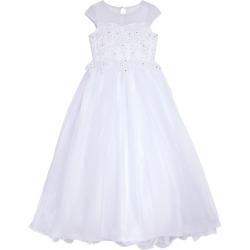 Girl's Us Angels Beaded Cap Sleeve Communion Dress