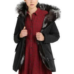 Women's Woolrich Somerset Reversible Hooded Down & Genuine Fox Fur Parka, Size Small - Black