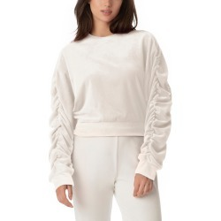 Women's Juicy Couture Ruched Sleeve Stretch Velvet Sweatshirt, Size Medium - Ivory found on MODAPINS from Nordstrom for USD $79.00