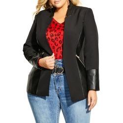 Plus Size Women's City Chic Faux Leather Trim Jacket