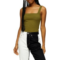 Women's Topshop Square Neck Ribbed Bodysuit, Size 12 US (fits like 14) - Green