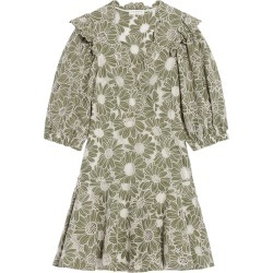 Women's Sandro Floral Embroidery Cotton A-Line Dress, Size 10 US - Green found on Bargain Bro from Nordstrom for USD $338.20