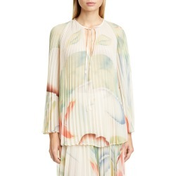 Women's Etro Watercolor Leaf Print Pleated Blouse, Size 2 US - White found on MODAPINS from LinkShare USA for USD $588.00