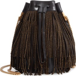 Saint Laurent Talitha Studded Fringe Leather Bucket Bag - Black found on Bargain Bro Philippines from Nordstrom for $2990.00
