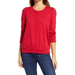 Women's Wit & Wisdom Rhinestone Sweatshirt, Size Small - Red (Nordstrom Exclusive) found on Bargain Bro from Nordstrom for USD $51.68