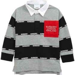 Toddler Boy's Burberry Kids' Albbie Stripe Logo Pocket Cotton Polo, Size 3Y - Grey found on Bargain Bro from Nordstrom for USD $167.20