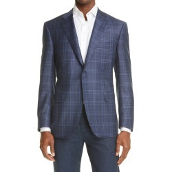 Men's Canali Sienna Soft Classic Fit Plaid Wool Sport Coat, Size 42 US - Blue found on Bargain Bro from Nordstrom for USD $1,212.20