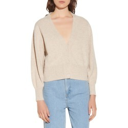 Women's Sandro Wool Cardigan, Size 4 - Beige found on Bargain Bro from Nordstrom for USD $224.20