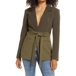 Women's Good American Side Slit Two-Tone Blazer, Size 3 - Green found on Bargain Bro India from Nordstrom for $115.00