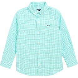 Toddler Boy's Vineyard Vines Arawak Gingham Poplin Whale Shirt, Size 2T - Blue/green found on Bargain Bro India from Nordstrom for $52.00