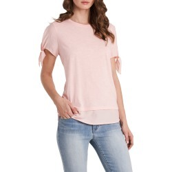 Women's Vince Camuto Tie Cuff Short Sleeve Top, Size Large - Pink