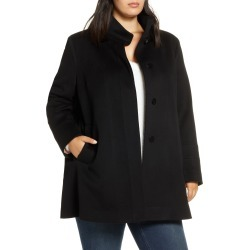 Plus Size Women's Fleurette Stand Collar Wool Car Coat, Size 18W - Black