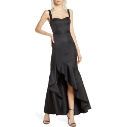 Women's Fame And Partners The Florence Ruffle High/low Gown, Size 14 - Black