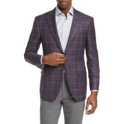 Men's Canali Siena Soft Classic Fit Plaid Wool Sport Coat, Size 48 US - Red