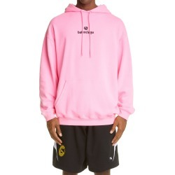 Men's Balenciaga Sponsor Logo Embroidered Medium Fit Hoodie, Size Small - Pink found on MODAPINS from Nordstrom for USD $850.00