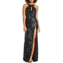 Women's MAC Duggal Sequin Cowl Back Gown, Size 4 - Black