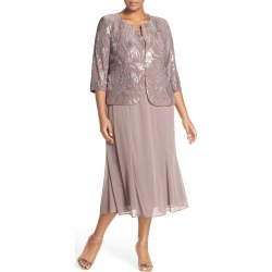 Plus Size Women's Alex Evenings Sequin Mock Two-Piece Dress With Jacket, Size 14W - Metallic
