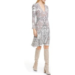 Women's Etro Paisley Print Long Sleeve Silk Faux Wrap Dress, Size 8 US - White found on MODAPINS from LinkShare USA for USD $704.00