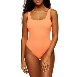 Women's Topshop One-Piece Square Neck Swimsuit, Size 10 US - Orange found on Bargain Bro India from LinkShare USA for $40.00