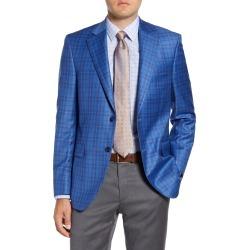 Men's Big & Tall Peter Millar Flynn Classic Fit Plaid Wool Sport Coat, Size 54 R - Blue