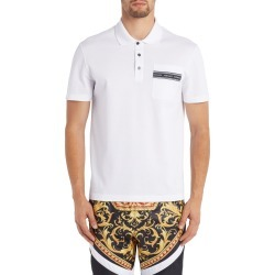 Men's Versace Logo Tape Short Sleeve Pique Pocket Polo, Size XX-Large - White found on MODAPINS from Nordstrom for USD $450.00