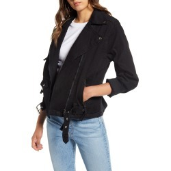 Women's Lira Clothing Axel Denim Moto Jacket, Size Small - Black found on Bargain Bro Philippines from Nordstrom for $90.00