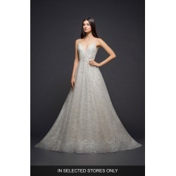 Women's Lazaro Sparkle Plaid Tulle A-Line Gown, Size IN STORE ONLY - Ivory found on Bargain Bro Philippines from Nordstrom for $3355.00
