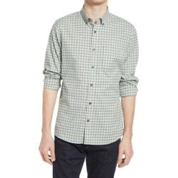 Men's Nordstrom Trim Fit Gingham Linen & Cotton Button-Down Shirt, Size XX-Large - Green found on Bargain Bro India from Nordstrom for $69.50