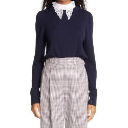 Women's Adam Lippes Puff Sleeve Wool Sweater With Removable Lace Collar, Size X-Large - Blue found on MODAPINS from Nordstrom for USD $790.00