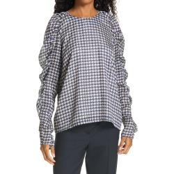 Women's Birgitte Herskind Houndstooth Puff Sleeve Blouse, Size 10 US - Blue found on Bargain Bro Philippines from Nordstrom for $228.00