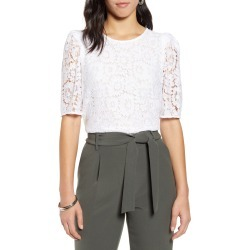 Women's Halogen Puff Sleeve Lace Top, Size Large - White
