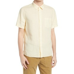 Men's Vince Short Sleeve Slim Fit Linen Sport Shirt, Size Large - Yellow found on Bargain Bro from Nordstrom for USD $140.60