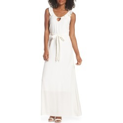 Women's Fraiche By J Ruffle Neck Maxi Dress, Size Large - Ivory found on Bargain Bro Philippines from Nordstrom for $68.40