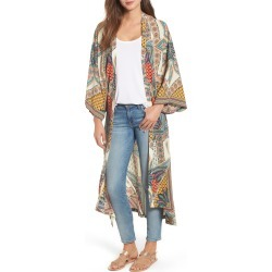 Women's Kas New York Scarf Print Kimono Jacket