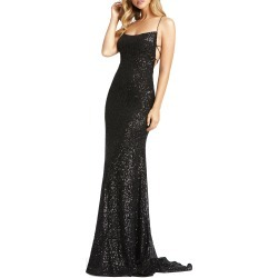 Women's MAC Duggal Sequin Strappy Back Gown, Size 10 - Black