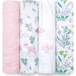 Aden + Anais White Label Forest Fantasy 4-Pack Swaddling Cloths, Size One Size - Pink found on Bargain Bro Philippines from LinkShare USA for $49.95