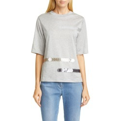 Women's Fabiana Filippi Paillette Detail Cotton Tee, Size 6 US - Grey found on MODAPINS from LinkShare USA for USD $217.50