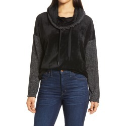 Women's Wit & Wisdom Mixed Media Cowl Neck Pullover, Size X-Small - Black (Nordstrom Exclusive) found on Bargain Bro from Nordstrom for USD $25.84