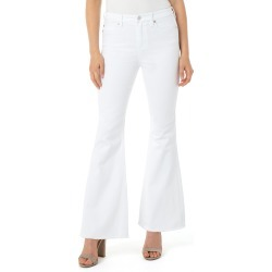 Women's Liverpool High Waist Frayed Hem Flared Jeans, Size 6 - White found on MODAPINS from Nordstrom for USD $98.00