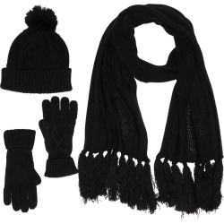 French Connection Cable Knit Hat, Gloves, & Scarf 3-Piece Set at Nordstrom Rack found on MODAPINS from Nordstrom Rack for USD $90.00