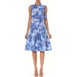 Women's Carolina Herrera Floral Belted Shirtdress, Size 4 - Blue found on MODAPINS from LinkShare USA for USD $845.00