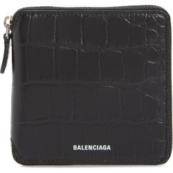 Men's Balenciaga Ville Croc Embossed Leather Square Wallet - Black found on MODAPINS from Nordstrom for USD $495.00