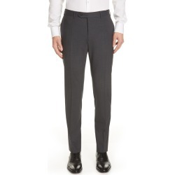 Men's Canali Flat Front Classic Fit Solid Stretch Wool Dress Pants, Size 32 US/ 48 EU x Unhemmed - Grey found on MODAPINS from Nordstrom for USD $395.00