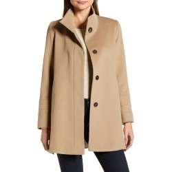 Women's Fleurette Stand Collar Wool Car Coat, Size 14 - Brown (Nordstrom Exclusive)