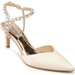 Women's Badgley Mischka Galaxy Embellished Ankle Strap Pointed Toe Pump, Size 9.5 M - Ivory found on MODAPINS from LinkShare USA for USD $235.00