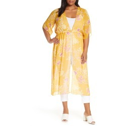 Plus Size Women's Vince Camuto Floral Getaway Chiffon Duster, Size 1X - Yellow found on MODAPINS from Nordstrom for USD $124.00